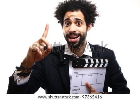 Fashion man with a Clapboard - stock photo