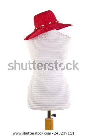 fashion mannequin with red summer hat isolated white background - stock photo