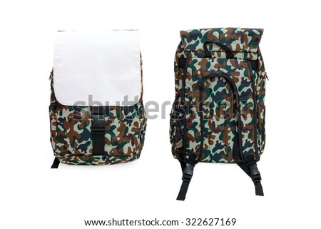 Fashion military bag. Backpack front and back. Military fashion bag. Modern military bag isolated. Blank military bag. Empty military bag. Canvas military bag isolated. Fashion bag. Army fashion bag. - stock photo