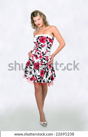 Fashion model doing the catwalk - stock photo