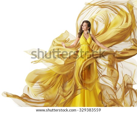 Fashion Model Dress, Woman in Flowing Fabric Gown, Clothes Flow on Wind, White Yellow - stock photo