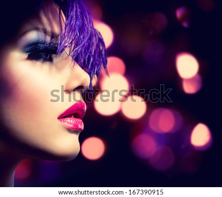 Fashion Model Girl. Holiday Woman over Glowing Bokeh Background. Fashion Art Girl Portrait With Violet Hair. Creative Hairstyle and Makeup. Make-up. Darkness. Night Party - stock photo