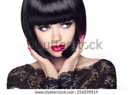 Fashion Model Girl With Trendy Hairstyle. Haircut. Stylish Beauty Brunette Woman Face. Beautiful Makeup.  - stock photo