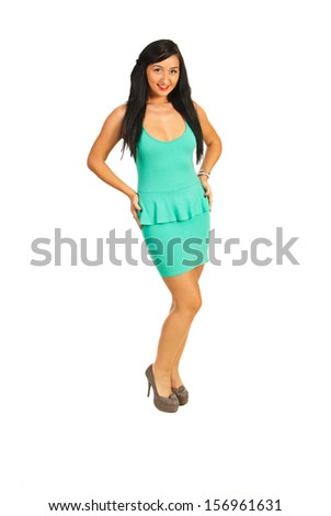 Fashion model in elegant green dress isolated on white background