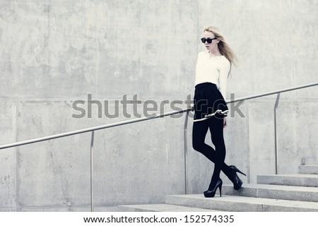 Fashion model on the street - stock photo
