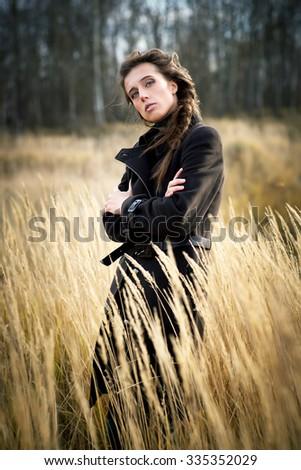 fashion model outdoors - stock photo