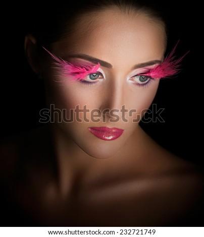 Fashion Model Portrait. Hairstyle. Haircut. Professional Makeup. False Eyelashes. Purple Make-up - stock photo