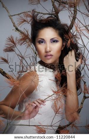 fashion model, portrait of beautiful woman. - stock photo