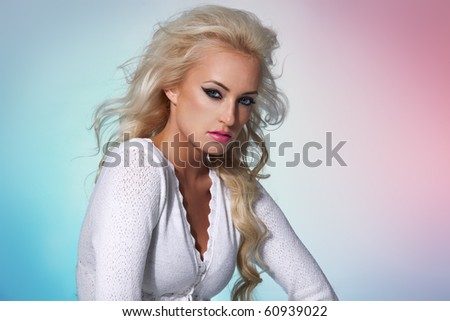 Fashion model portrait on a colorful background