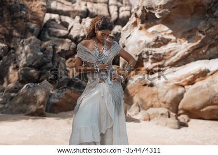 fashion model portrait with boho jewelry - stock photo