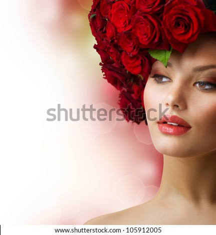 Fashion Model Portrait with Red Roses Hair - stock photo