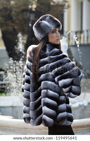 Fashion model posing in a chinchilla fur coat. Always more on my portfolio - stock photo