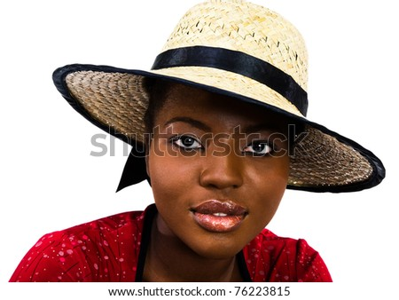 Fashion model posing isolated over white - stock photo