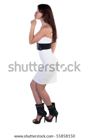 Fashion model posing on a white background
