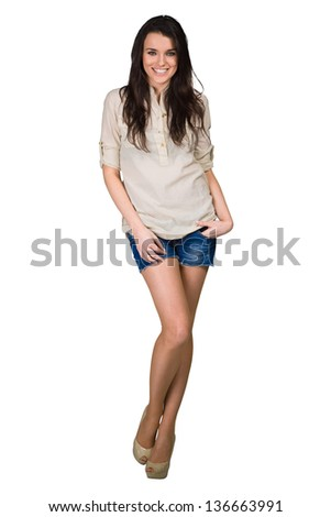 Fashion model wearing beige shirt with emotions