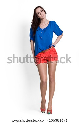 Fashion model wearing blue blouse with emotions - stock photo