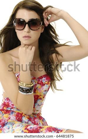 Fashion model wearing modern sunglasses.-isolated - stock photo