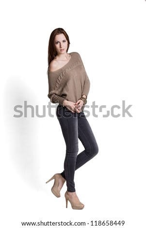 Fashion model wearing sweater with emotions - stock photo