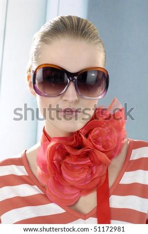 fashion model wearing the big sunglass - stock photo