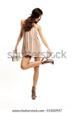 fashion model white background pose - stock photo