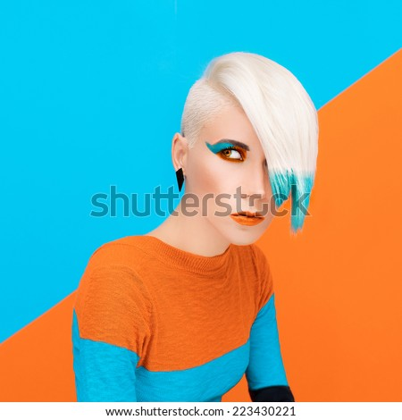 Fashion Model with bright Make-up and Color Hair. Art photo - stock photo