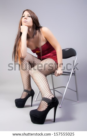 fashion model with long sexy legs - stock photo