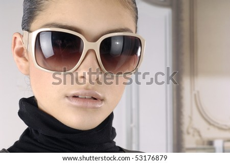 Fashion model with modren sunglasses	 - stock photo