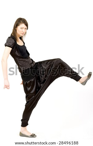 fashion model with one leg up on white background