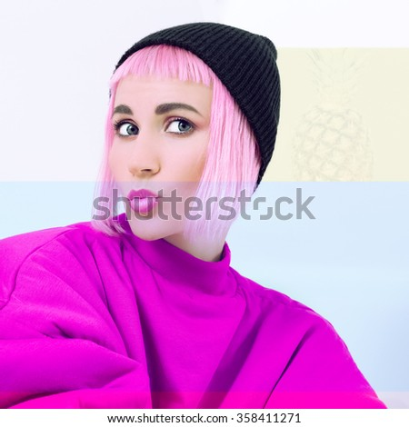 Fashion model with pink Hair. Pastel color palette