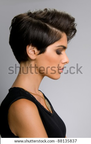 Fashion model with straight short hair profile view - stock photo