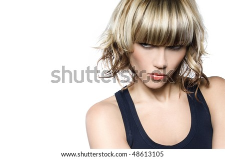 Fashion model with trendy hairstyle - stock photo
