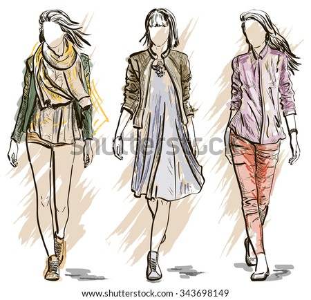 Fashion models in a Sketch style. Raster version  - stock photo