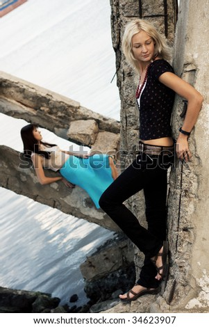 Fashion models outdoor photo