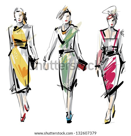 Fashion models. Sketch. Raster version. - stock photo