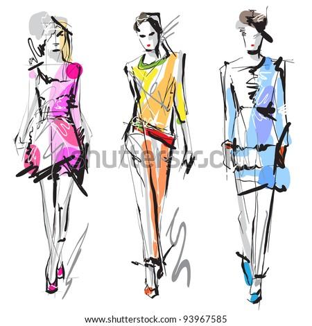 Fashion models. Sketch. Raster version - stock photo