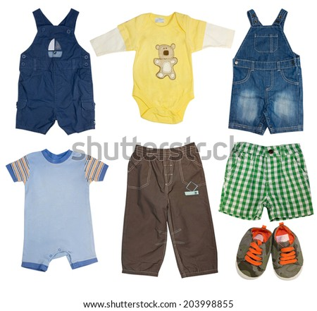 Fashion modern male baby clothes.Collage set of boy kid wear. - stock photo