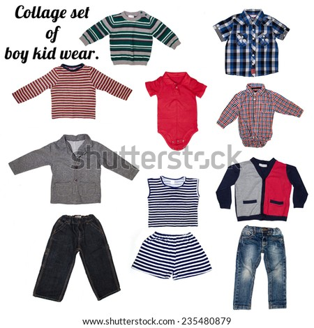 Fashion modern male baby clothes.Collage set of boy kid wear - stock photo