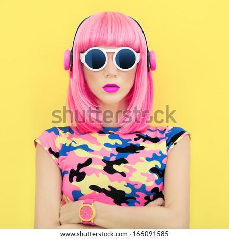 Fashion music girl - stock photo