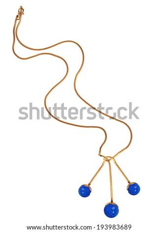 fashion necklace isolated on white - stock photo