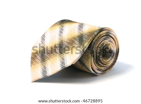 Fashion necktie roll up with white background