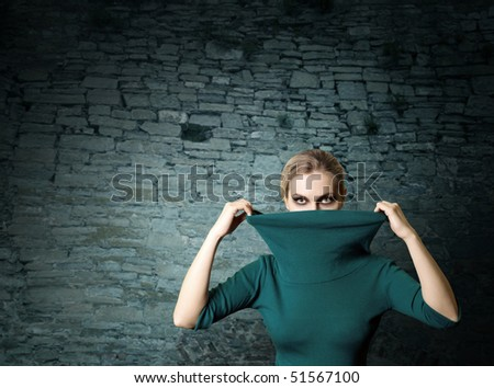 fashion ninja woman in old brick ruins - stock photo