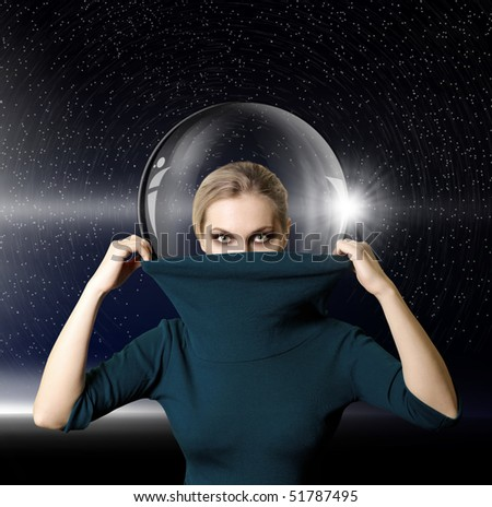 fashion ninja woman in space with glass space-suit - stock photo
