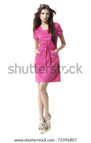 fashion or casual girl posing on white - stock photo