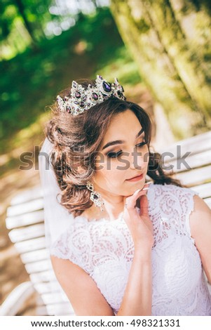 fashion outdoor photo of gorgeous bride with dark hair in luxurious wedding dress and crown posing at the park. close up. gemstone