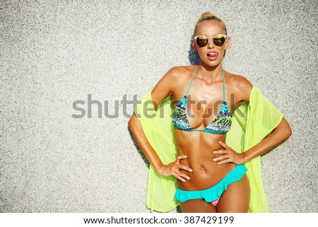 Fashion outdoor photo of sexy beautiful woman - stock photo