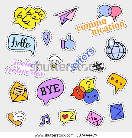 Fashion patch badges. Social networks set. Stickers, pins, patches and handwritten notes collection in cartoon 80s-90s comic style. Trend.  illustration isolated.  clip art. Rasterized Copy