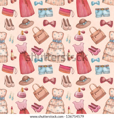 Fashion pattern with watercolor dresses and accessories - stock photo