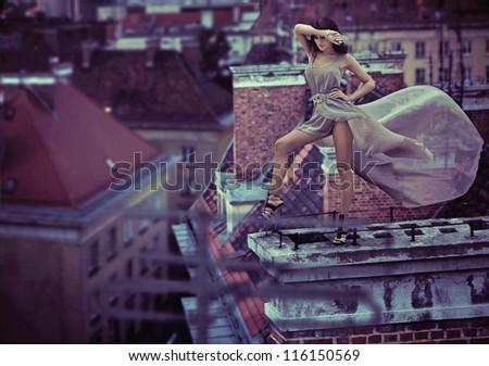 Fashion pfhoto of a sexy lady - stock photo