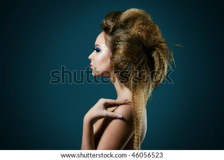 Fashion photo of beautiful nude woman with long hair - stock photo