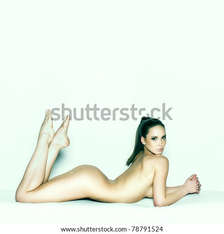 Fashion photo of beautiful nude woman with sexy body - stock photo